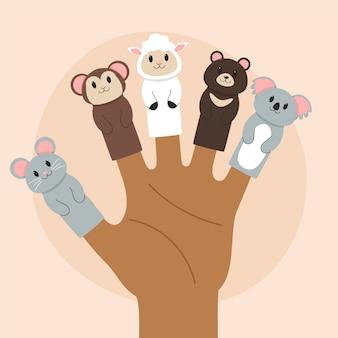 Linda colección de marionetas de dedo