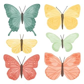 Linda colección de mariposas en acuarela