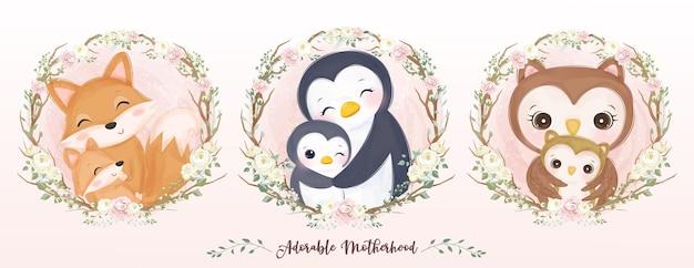Linda colección de maternidad en acuarela
