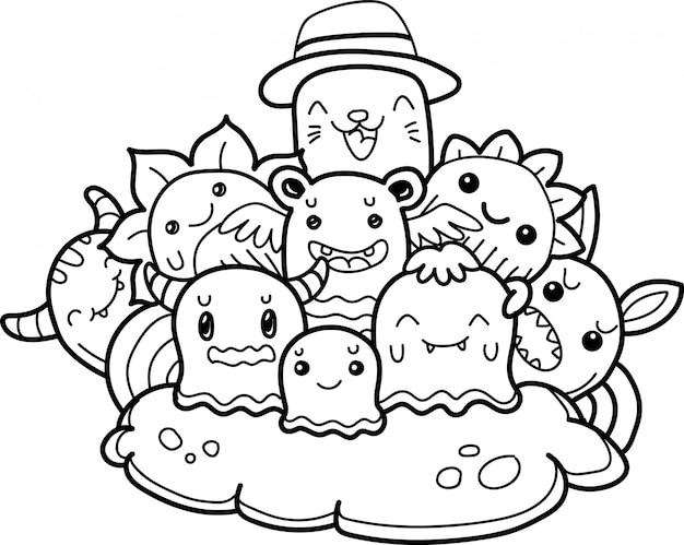 Linda colección de monstruos en estilo doodle