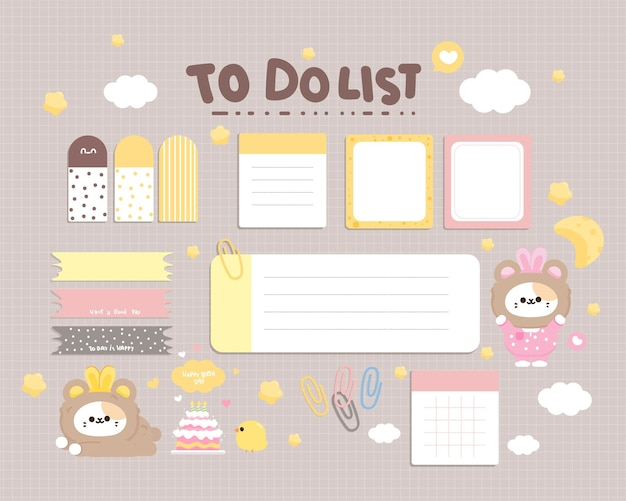 Linda colección de papelería de elemento de planificador diario