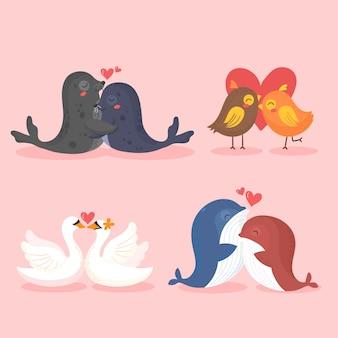 Linda colección de pareja de animales del día de san valentín