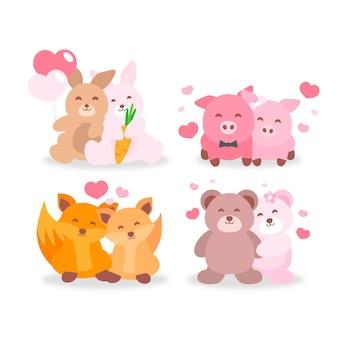 Linda colección de pareja de animales de san valentín
