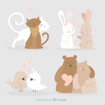 Linda colección de parejas de animales para el día de san valentin