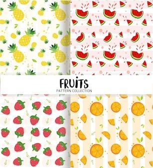 Linda colección de patrones sin fisuras de frutas de verano, fresa, naranja, sandía, piña