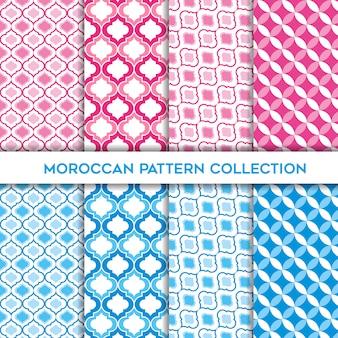 Linda colección de patrones sin fisuras marroquí rosa y azul bebé