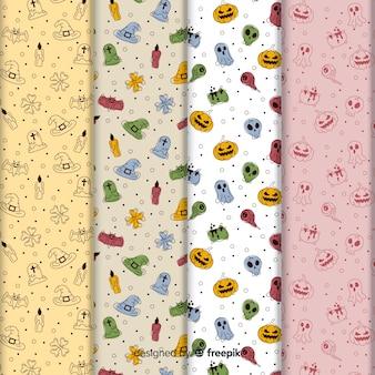Linda colección de patrones de garabatos de halloween