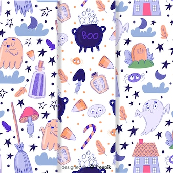 Linda colección de patrones de halloween dibujados a mano