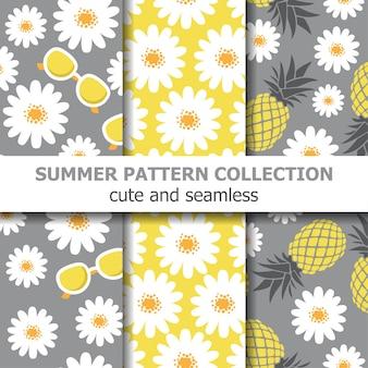 Linda colección de patrones de verano con margaritas, gafas de sol y piñas.