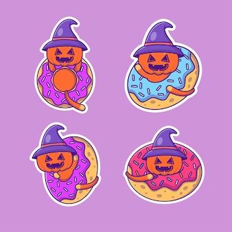Linda colección de pegatinas de feliz halloween de calabaza