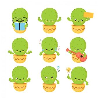 Linda colección de personajes de cactus sonriente