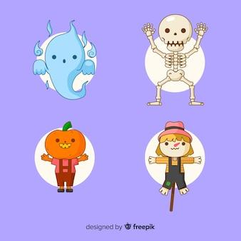 Linda colección de personajes de halloween en diseño plano