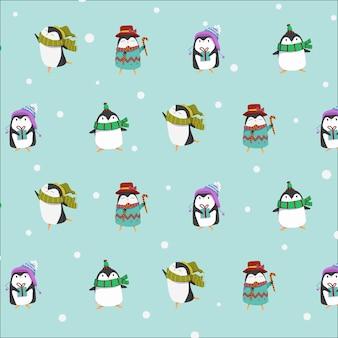 Linda colección de personajes de invierno de pingüinos