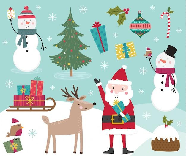 Linda colección de personajes de navidad, conjuntos de elementos navideños. ilustración