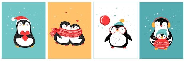 Linda colección de pingüinos dibujados a mano, saludos de feliz navidad