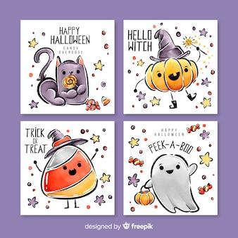 Linda colección de tarjetas de acuarela de halloween