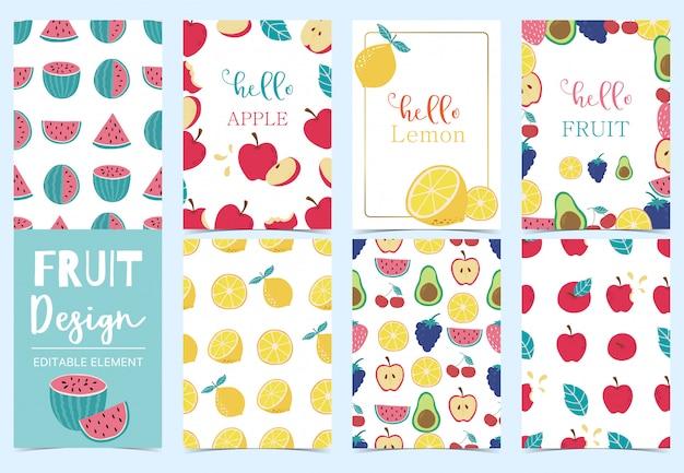 Linda colección de tarjetas de frutas con manzana, uva, kiwi, aguacate, ilustración de vector de limón