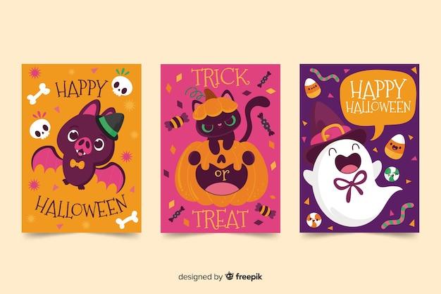 Linda colección de tarjetas de halloween dibujadas a mano