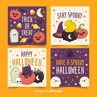 Linda colección de tarjetas de halloween de fantasmas y calabazas