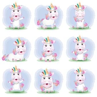 Linda colección de unicornio con disfraz de apache