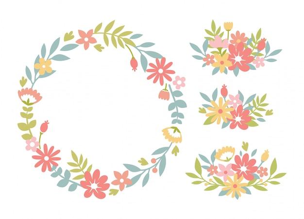 Linda corona de flores y conjunto de arreglos