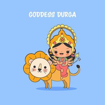 Linda diosa durga con dibujos animados de león para el festival navratri