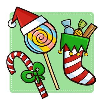 Linda y divertida decoración de dulces navideños kawaii