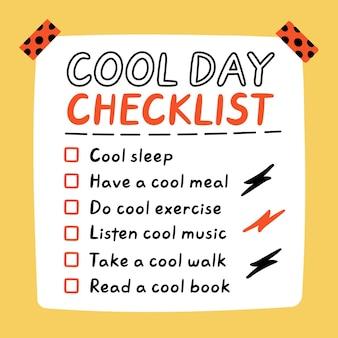 Linda y divertida lista de tareas de autocuidado de cool day