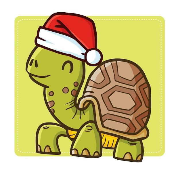 Linda y divertida tortuga vieja kawaii con gorro de papá noel para navidad y sonriendo