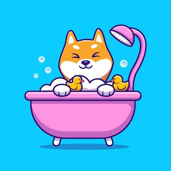 Linda ducha de baño de shiba inu en la ilustración de vector de dibujos animados de bañera. vector aislado del concepto de amor animal. estilo de dibujos animados plana