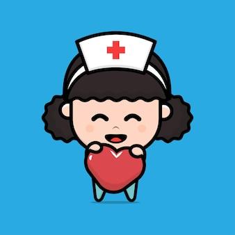Linda enfermera con ilustración de personaje de corazón