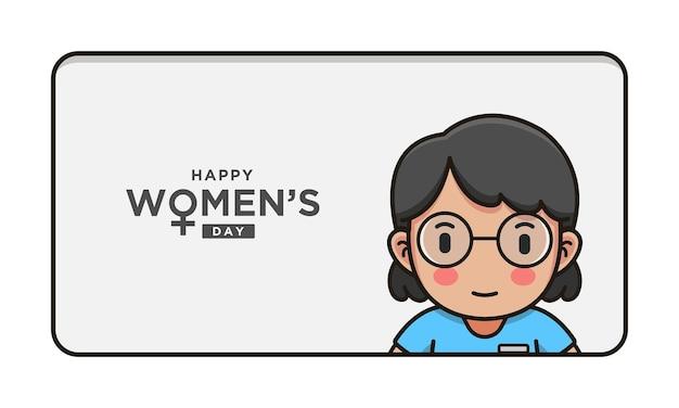 Linda enfermera con saludo feliz día de la mujer