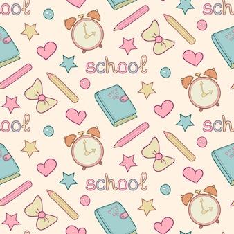 Linda escuela de patrones sin fisuras con diario, despertador, lápices de colores, arco, corazón, estrella.