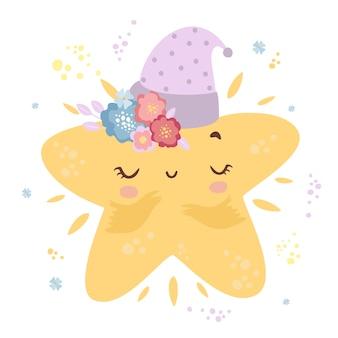 Linda estrella pequeña en una gorra