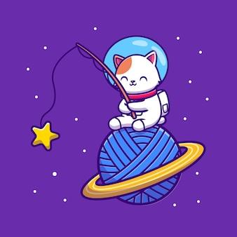 Linda estrella de pesca de gato astronauta en vector de dibujos animados de planeta de lana de hilo