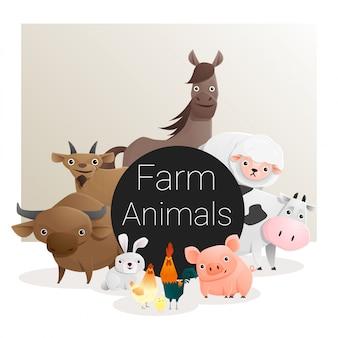 Linda familia de animales con animales de granja.