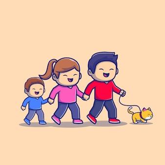 Linda familia caminando ilustración del icono de dibujos animados. concepto de icono de deporte de personas aislado premium. estilo plano de dibujos animados
