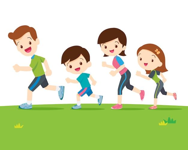 Linda familia corriendo juntos