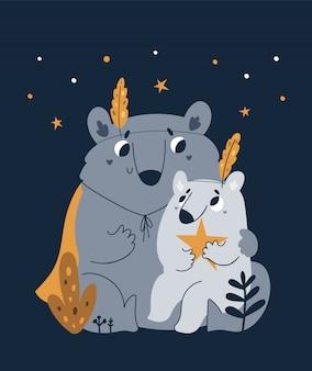 Linda familia encantadora de osos de peluche aislados en la oscuridad. la mejor mamá, padre. papá alguna vez
