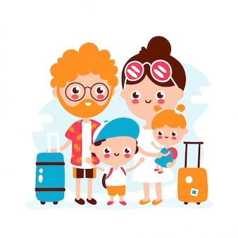 Linda familia feliz con bolsa de viaje