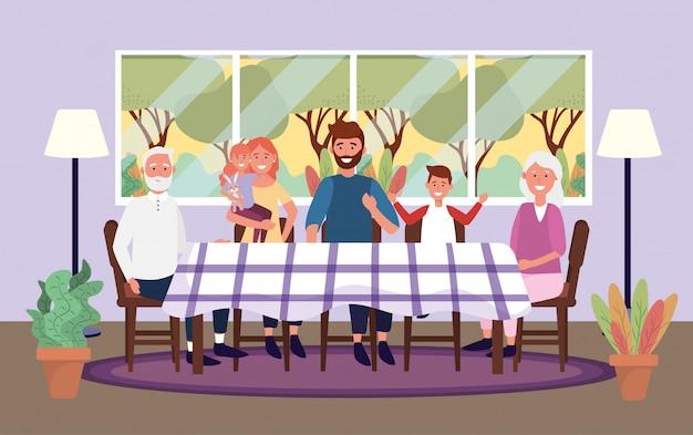 Linda familia juntos en la mesa con ventana