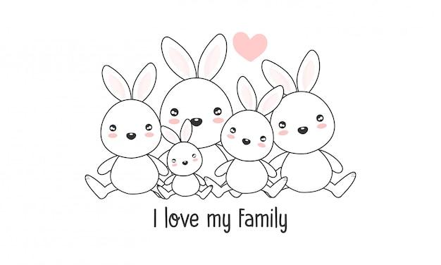 Linda familia de liebre feliz dice