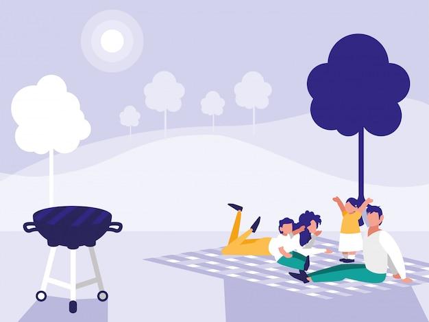 Linda familia en el parque con picnic