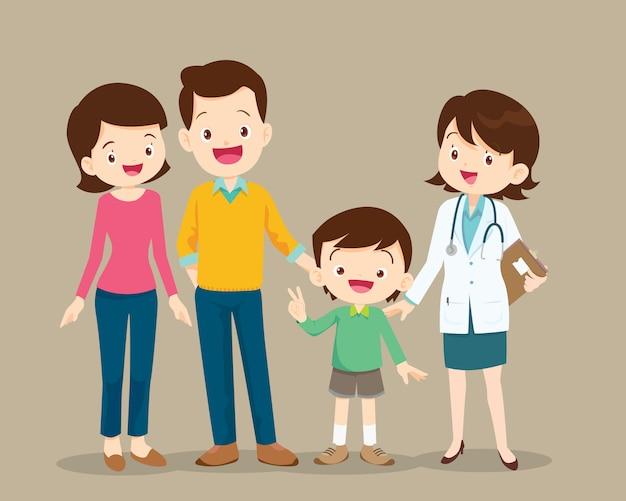Linda familia visitando a la doctora