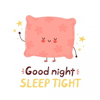 Linda feliz almohada divertida. ilustración de estilo de dibujo a mano de personaje de dibujos animados. aislado sobre fondo blanco buenas noches dormir tarjeta apretada