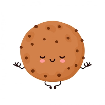 Linda feliz divertida galleta de chocolate meditar. diseño de ilustración de personaje de dibujos animados de vector. aislado