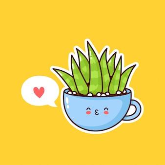 Linda feliz divertida planta suculenta en taza con bocadillo. diseño de ilustración de personaje kawaii de dibujos animados plana. las suculentas aman el concepto