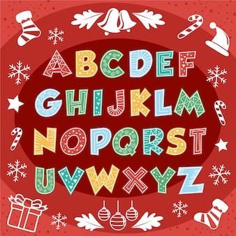 Linda feliz navidad alfabeto tipografía texto