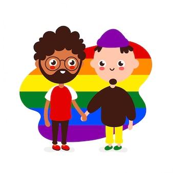 Linda feliz pareja gay sonriente.