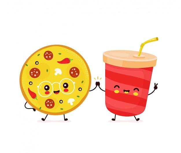 Linda feliz sonriente taza de refresco y pizza.
